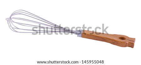 brilliant whisk with a wooden handle on a white background