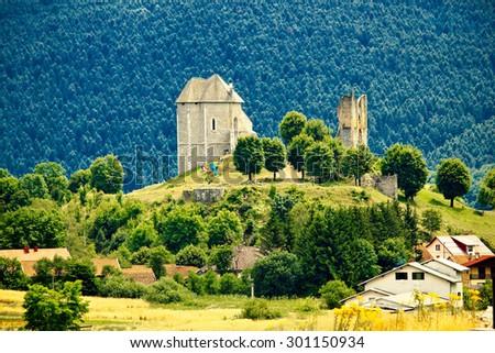 Brinje castle ruins in Lika, Croatia - stock photo