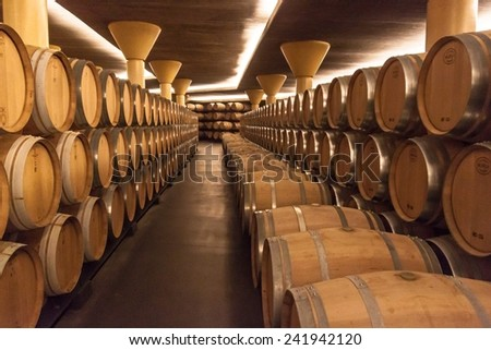 BRIONES, SPAIN - NOVEMBER 12: Interior of the Vivanco winery museum on November 12, 2014 in Briones, La Rioja, Spain.  It was inaugurated in 2004 by the king of Spain Juan Carlos I.