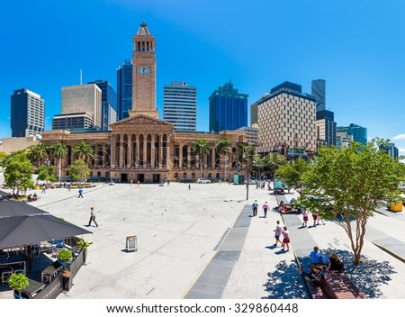 BRISBANE, AUS - OCT 21 2015: Fish eye view of Brisbane City Hall. The building is used for royal receptions, orchestral concert, graduations and political meetings. - stock photo