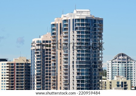 BRISBANE, AUS - SEP 26 2014: Apartment buildings. Australia Reserve Bank has sent out a stern warning to Australian property owners that it needs to take measures to control the booming housing market. - stock photo