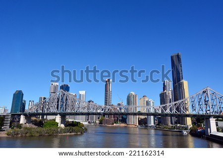 BRISBANE, AUS - SEP 24 2014: Brisbane Skyline. It is Australias third largest city, with its fastest growing economy in Australia. - stock photo