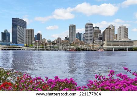 BRISBANE, AUS - SEP 24 2014: Brisbane Skyline. It's Queenslands administrative, educational, and cultural capital. - stock photo