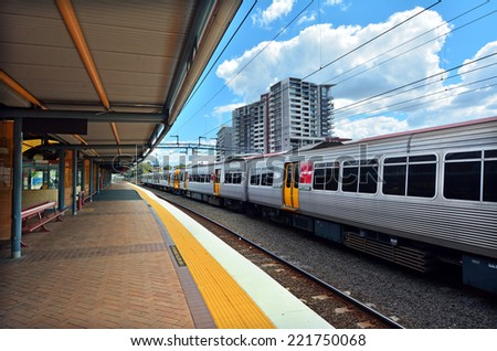 BRISBANE, AUS - SEP 26 2014:Queensland Rail in Roma Street railway station.It is a heritage-listed major railway station in the CBD of Brisbane, Australia. - stock photo