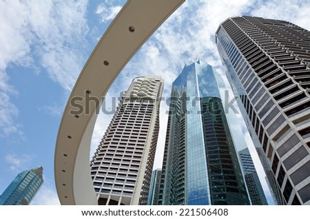 BRISBANE, AUS - SEP 25 2014: Skyscrapers at Little Singapore -Brisbane Riverside Quarter. It's home to some of the city's most exciting restaurants, bars and eateries in Brisbane, Australia. - stock photo