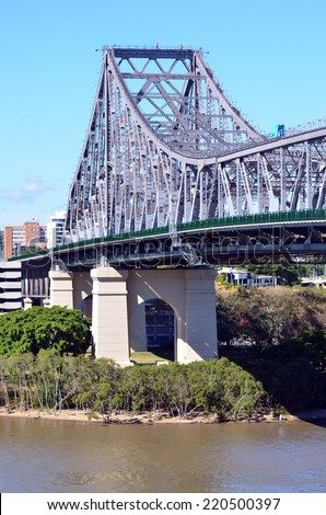 BRISBANE, AUS - SEP 26 2014:The Story Bridge.It's the longest cantilever bridge in Australia, spanning the Brisbane River in  Queensland, Australia carries vehicular, bicycle and pedestrian traffic.