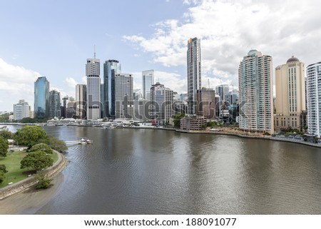 BRISBANE, AUSTRALIA - APRIL 9 2014 : Brisbane cityscape, Brisbane is the capital and most populous city in the Australian state of Queensland