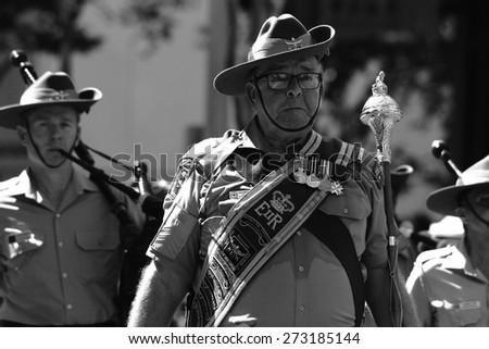 BRISBANE, AUSTRALIA - APRIL 25 : Military band performing along march during Anzac day centenary commemorations April 25, 2015 in Brisbane, Australia - stock photo