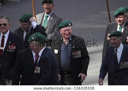 BRISBANE, AUSTRALIA - APRIL 25 : Veterans along march route during Anzac day commemorations  April 25, 2013 in Brisbane, Australia - stock photo