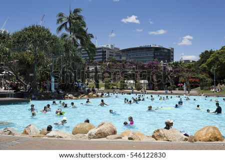 BRISBANE, AUSTRALIA - December 28, 2016: Hot day at the man made beach at the South Bank Parklands in Brisbane, Australia