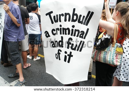 BRISBANE, AUSTRALIA - FEBRUARY 05 :Anti Primeminister sign at protest in support of churches offering sanctuary to refugees February 05, 2016 in Brisbane, Australia - stock photo