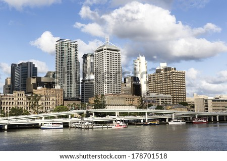 BRISBANE, AUSTRALIA - FEBRUARY 25 2014: Brisbane City Australia cityscape and pacific highway