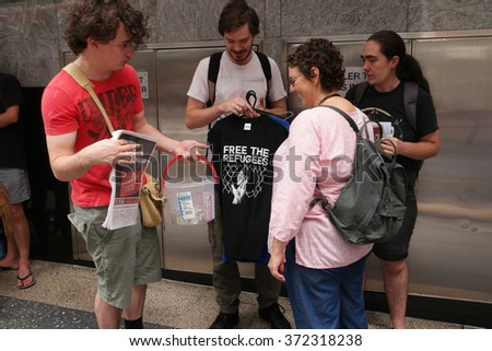 BRISBANE, AUSTRALIA - FEBRUARY 05 : Protest in support of churches offering sanctuary to refugees February 05, 2016 in Brisbane, Australia - stock photo
