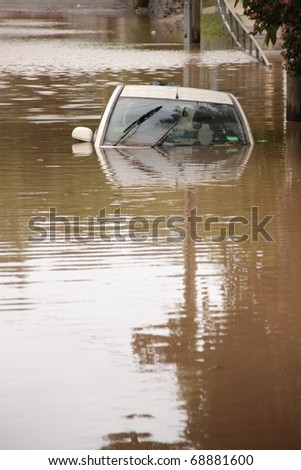 BRISBANE, AUSTRALIA - JAN 13 : Flood  Brisbane  auchenflower area Queensland declared natural disater January 13, 2011 in Brisbane, Australia - stock photo