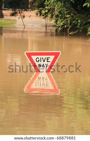BRISBANE, AUSTRALIA - JAN 13 : Flood  Brisbane City  area Queensland declared natural disater January 13, 2011 in Brisbane, Australia - stock photo