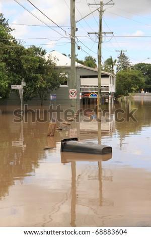 BRISBANE, AUSTRALIA - JAN 13 : Flood  Brisbane  Rosalie area Queensland declared natural disater January 13, 2011 in Brisbane, Australia - stock photo