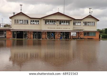 BRISBANE, AUSTRALIA - JAN 13 : Flooded  Brisbane  windsor area January 13, 2011 in Brisbane, Australia - stock photo