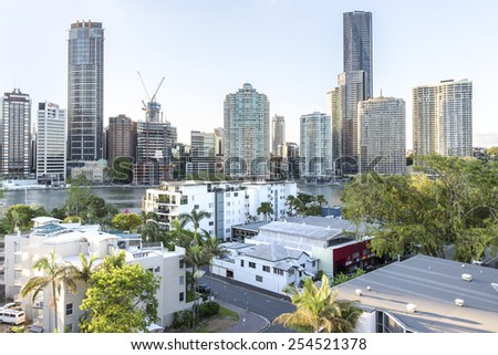 BRISBANE, AUSTRALIA - JANUARY 16 2015: Brisbane cityscape and Riverwalk viewed from East Brisbane