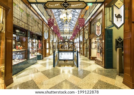 BRISBANE, AUSTRALIA - JUNE 16, 2014: Brisbane Arcade is a heritage-listed shopping arcade located at 160 Queen Street and runs from Queen Street Mall and Adelaide Street.