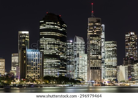 BRISBANE, AUSTRALIA - JUNE 12 2015: Brisbane City nightcape closeup, view from Kangaroo Point