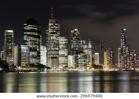 BRISBANE, AUSTRALIA - JUNE 12 2015: Brisbane City nightcape, view from Kangaroo Point