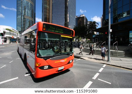 BRISBANE, AUSTRALIA - MARCH 22: People ride the free bus on March 22, 2008 in Brisbane, Australia. Brisbane Buses had record 78.76 million passengers in financial year 2010-11. - stock photo