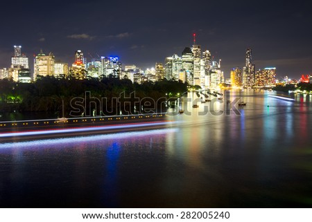 BRISBANE, AUSTRALIA - 27 MAY 2015: The inner-city of Brisbane viewed across the Brisbane River from Kangaroo Point on 27th May 2015.
