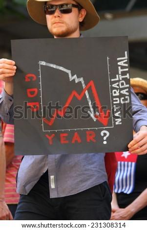 BRISBANE, AUSTRALIA - NOVEMBER 15: Briscan20 anti capitalism unidentifed protestor on November 15, 2014 in Brisbane, Australia - stock photo