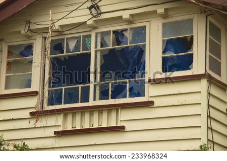 BRISBANE, AUSTRALIA - NOVEMBER 28 : Windows smashed from super cell hail storm area declared disaster on November 28, 2014 in Brisbane, Australia - stock photo
