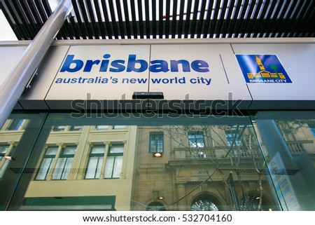 BRISBANE, AUSTRALIA - OCTOBER 09, 2012 : The sign of Brisbane city at Visitor Information in Queen Street Mall