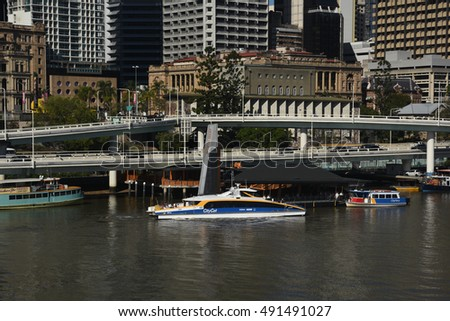 Brisbane, Australia September 2016 - editorial use only: CityCat ferry arriving at North Quay wharf in central Brisbane.
