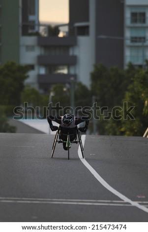 "BRISBANE, AUSTRALIA - SEPTEMBER 07 :Rheed Mccracken  participating in the ""Bridge to Brisbane"" charity fun run on September 07, 2014 in Brisbane, Australia - stock photo"