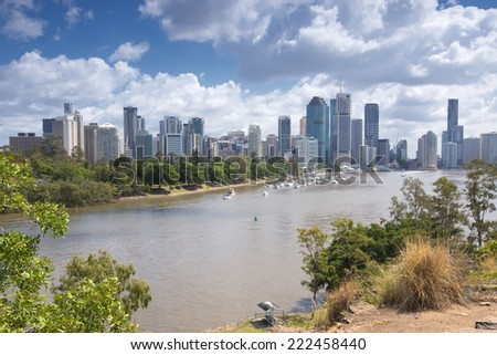 Brisbane, Australia - 26th September, 2014: View from Kangaroo point overlooking Brisbane City and river during the day. - stock photo