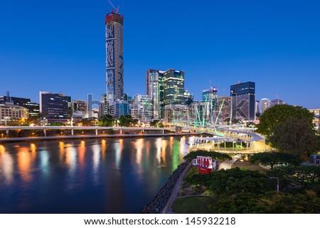 Brisbane city and Brisbane river - stock photo