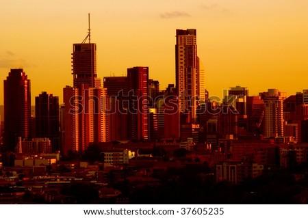 Brisbane city office building skyline at dusk - stock photo