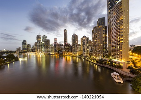 Brisbane city skyline at night time - stock photo
