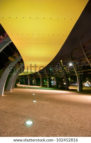 Brisbane City - Southbank footpath at night - Queensland - Australia