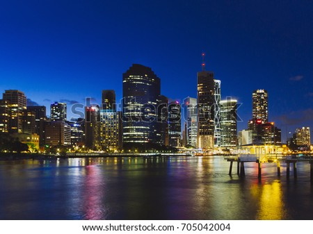 Brisbane Cityscape at Blue Hours - A photo of the Brisbane skyline with beautiful lights from Kangaroo Point around blue hours.