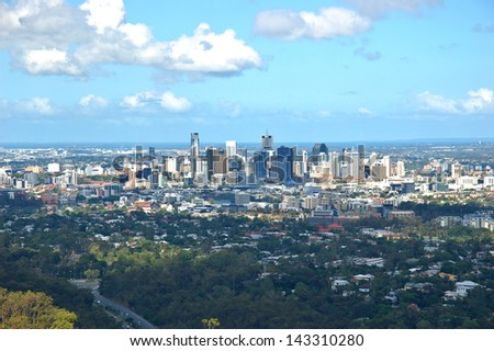 Brisbane downtown view from the mount. Australia - stock photo