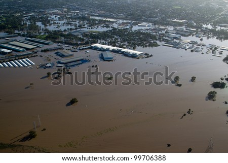 Brisbane Flood January 2011 Aerial View Rocklea Markets & light industrial area. View of businesses and markets & homes destroyed by Australia's worst disaster. This is the floodplain to city's south - stock photo
