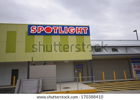 BRISBANE - JANUARY 9TH:  The spotlight sign on the 9th January 2014. Spotlight sells bedding and manchester.