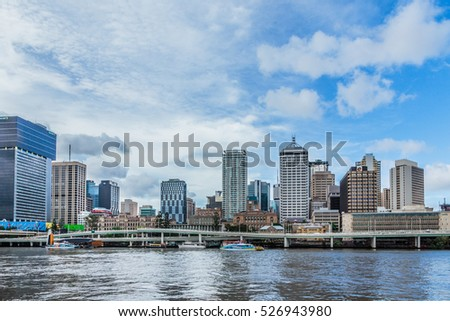 Brisbane, Queensland, Australia: March 11 2016. City (Central Business District) skyline seen from the South Bank across the river.