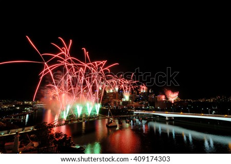 Brisbane River Firework viewing from top of Kangaroo Point