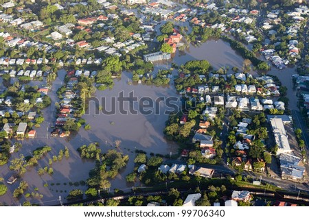 Brisbane River Flood January 2011 Aerial View Milton Homes and Park. Aerial view of the residential area of the suburb of Milton during the great Brisbane Flood of 2011. - stock photo