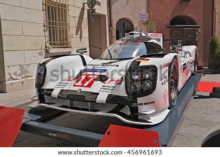 "BRISIGHELLA, RA, ITALY  - JULY 17: racing car Porsche 919 Hybrid winner of the World Championship 2015 exposed during the meeting ""Trofeo Lorenzo Bandini"", on July 17, 2016 in Brisighella, RA, Italy"