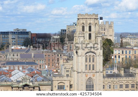 Bristol City View with Cathedral  - stock photo