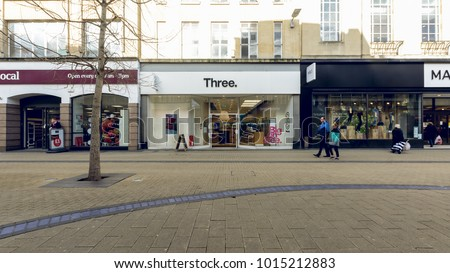 Bristol, England - Feb 1, 2018: Entrance to Three Shop, Mobile Phone Store in Broadmead, Bristol Shopping Quarter