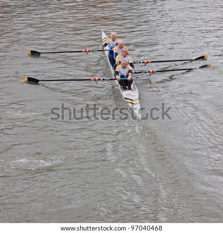 BRISTOL, ENGLAND - FEBRUARY 19: Veteran Avon County team competing in the annual Head of the River race in Bristol, England on February 19, 2012. One hundred teams entered the 3,300 metre race