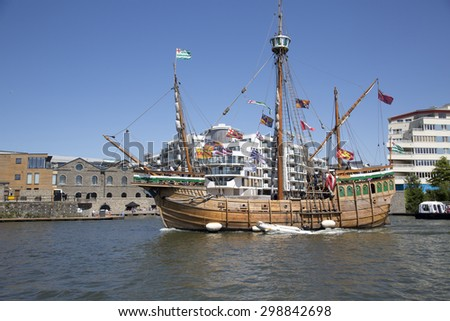 BRISTOL, ENGLAND - JULY 19: The replica sail ship The Matthew ferries passengers around Bristol harbour during the annual festival on July 19, 2015 at Bristol, UK