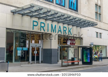 Bristol, England - March 20, 2018: Primark Entrance from The Horsefair, Bristol Shopping Quarter. Discount fashion chain offering clothes and accessories for all ages
